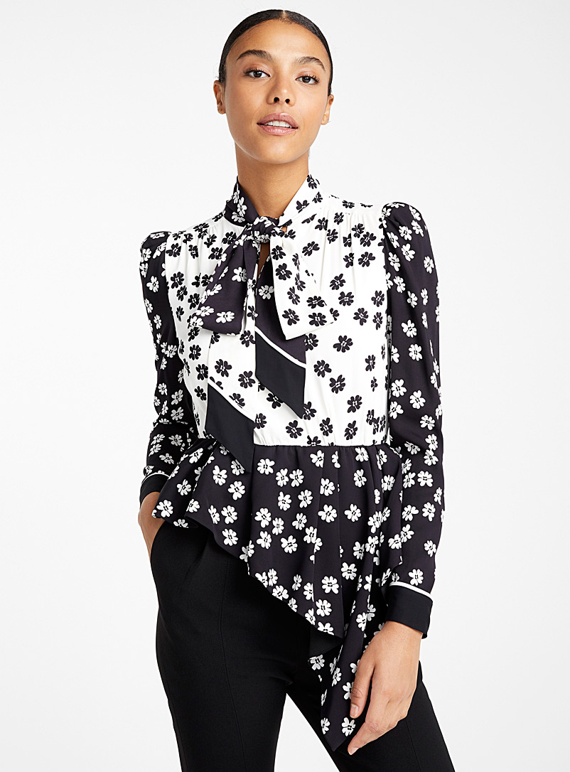 Daisy asymmetric blouse - Self-Portrait - Patterned Black