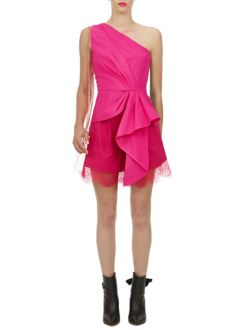 Self-Portrait Cherry Red Fuchsia draped asymmetric top for women