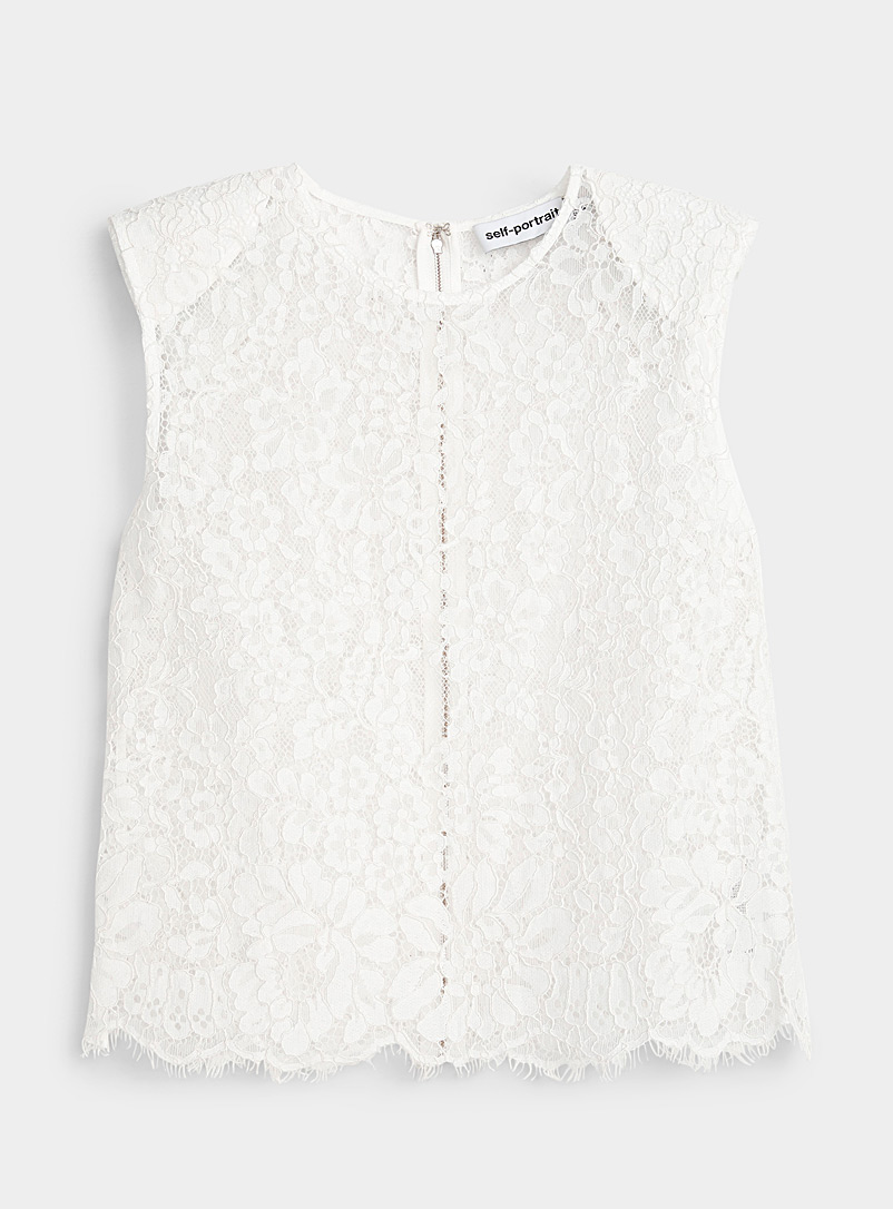 Self-Portrait Ivory White Sleeveless lace top for women