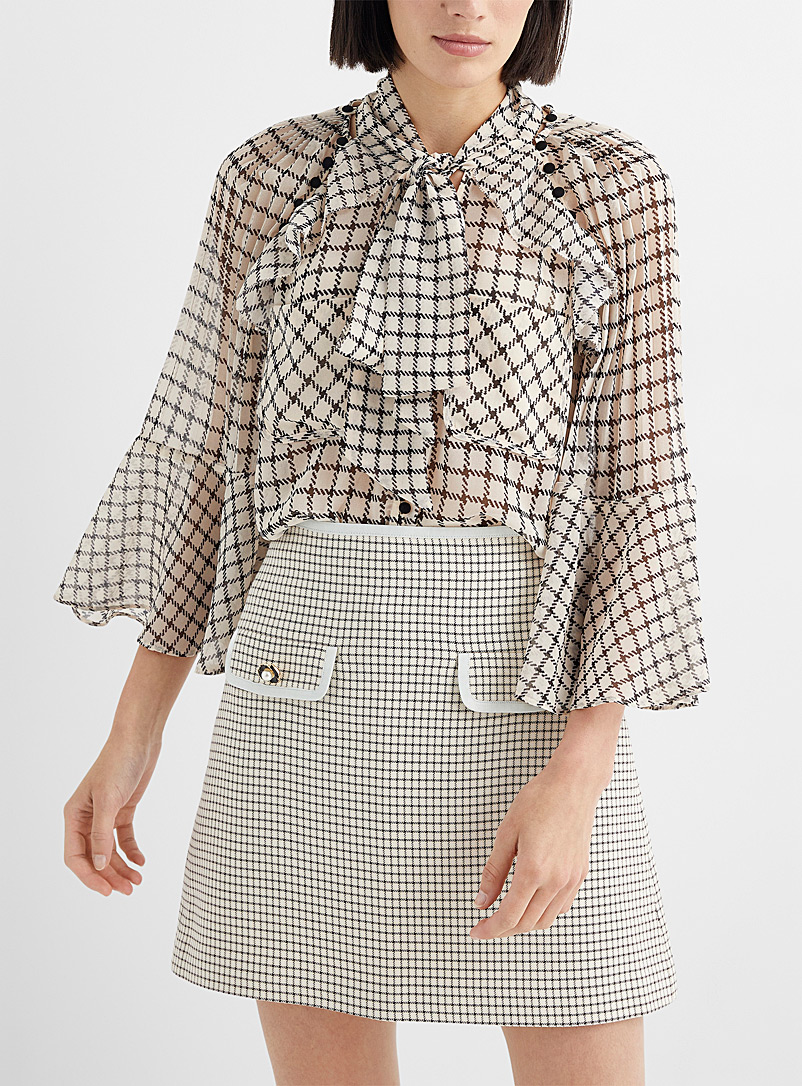 Self-Portrait Assorted Removable-sleeve check blouse for women