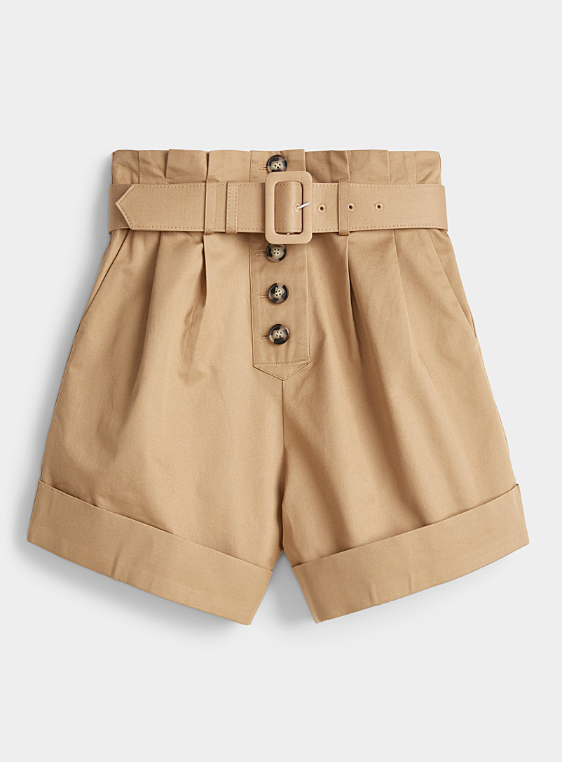 Self-Portrait Honey Canvas Turn Up shorts for women