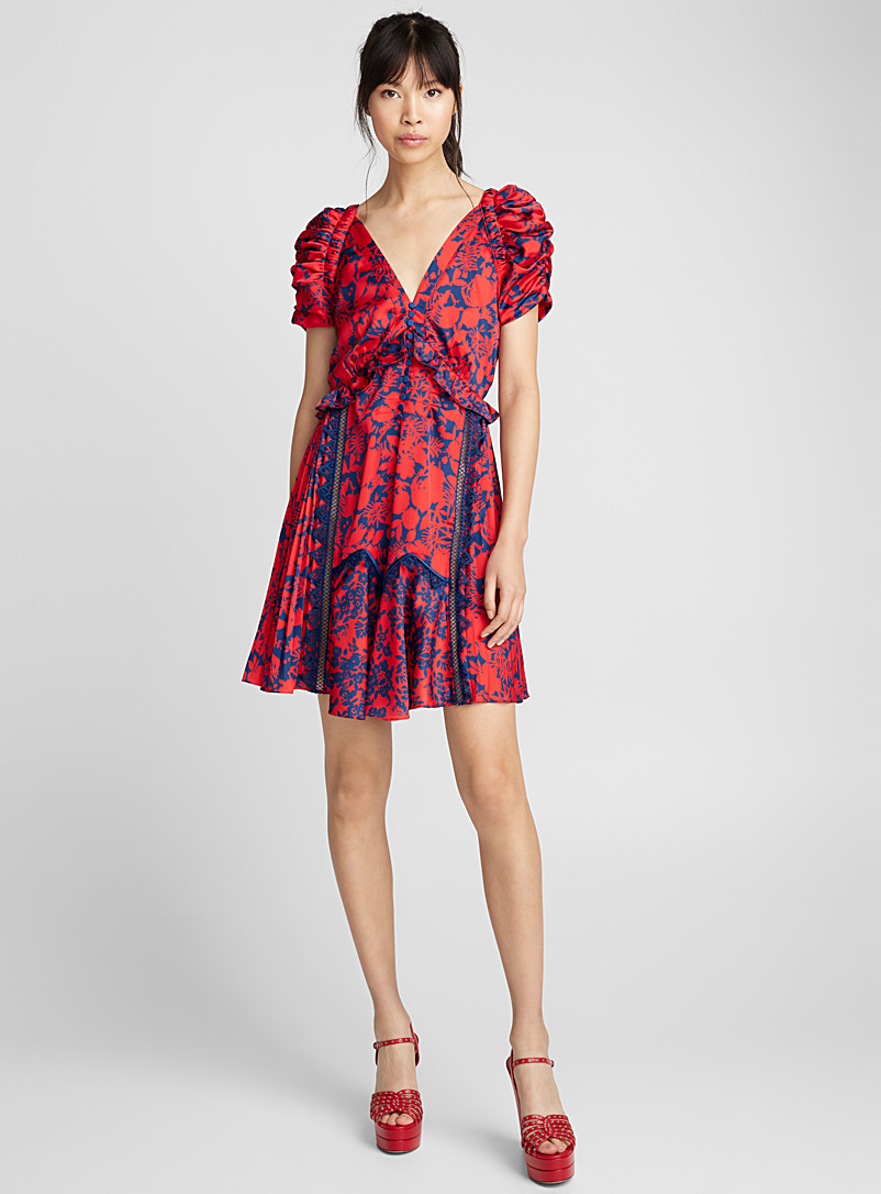 Satin floral dress - Self-Portrait - Red