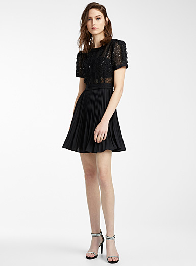 Self-Portrait Black Puff sleeve sequin dress for women