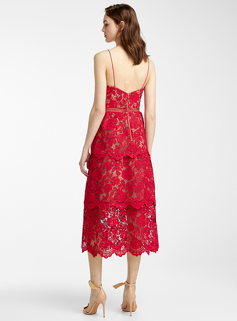 Self-Portrait Cherry Red Fuchsia Flower Lace dress for women