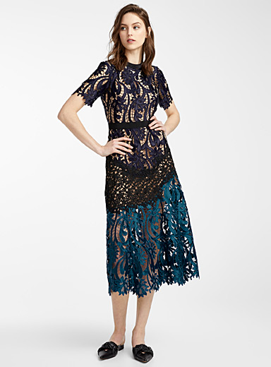 Self-Portrait Patterned Blue Prairie dress for women