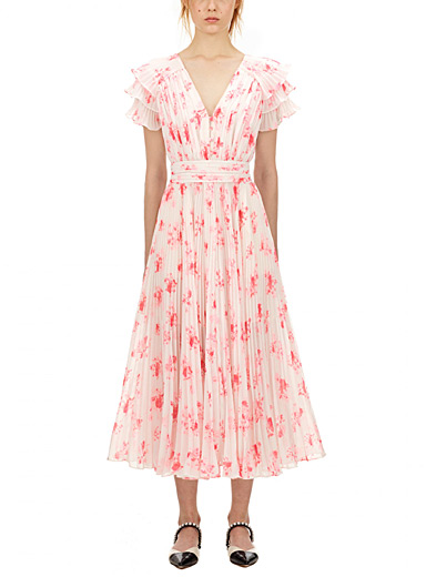 Self-Portrait Assorted Long pleated chiffon floral dress for women