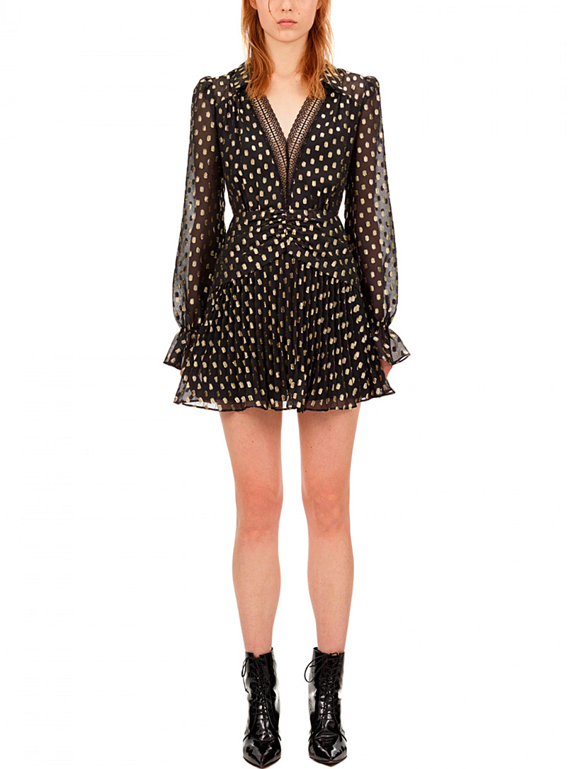 Self-Portrait Black Gold dot fil-coupé dress for women