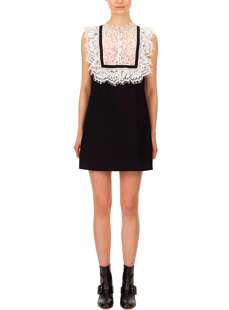 Self-Portrait Black and White Lace and rhinestone bib minidress for women