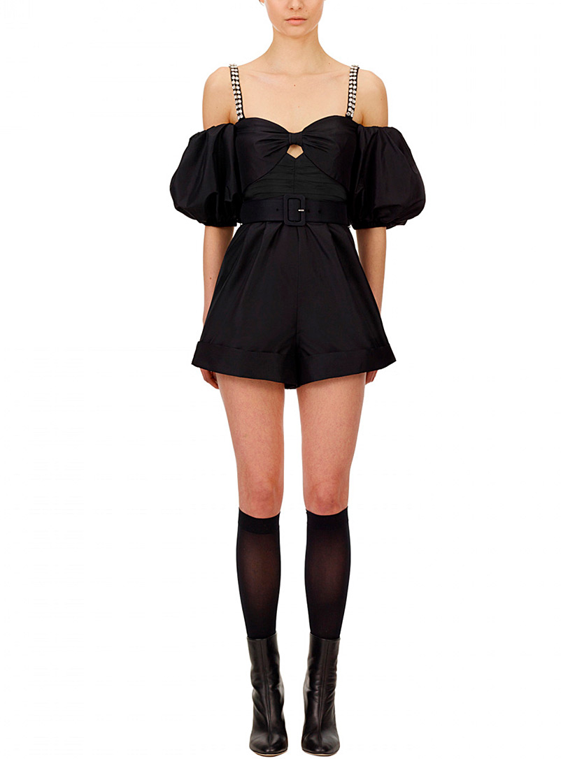 Self-Portrait Black Drop balloon-sleeve romper for women