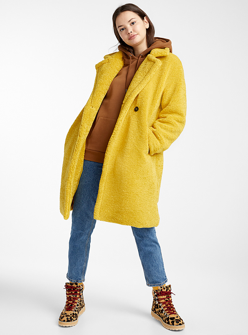 Twik Yellow Golden button sherpa jacket for women