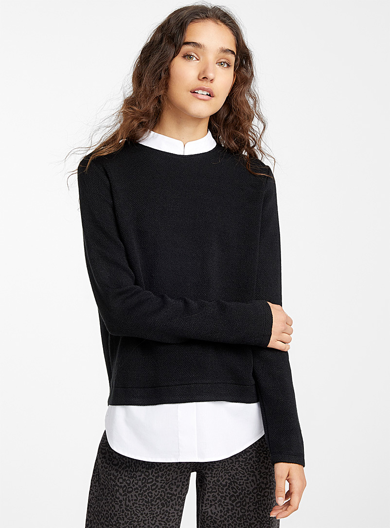 Twik Black Contrast shirt sweater for women