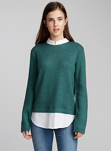 Contrast shirt sweater