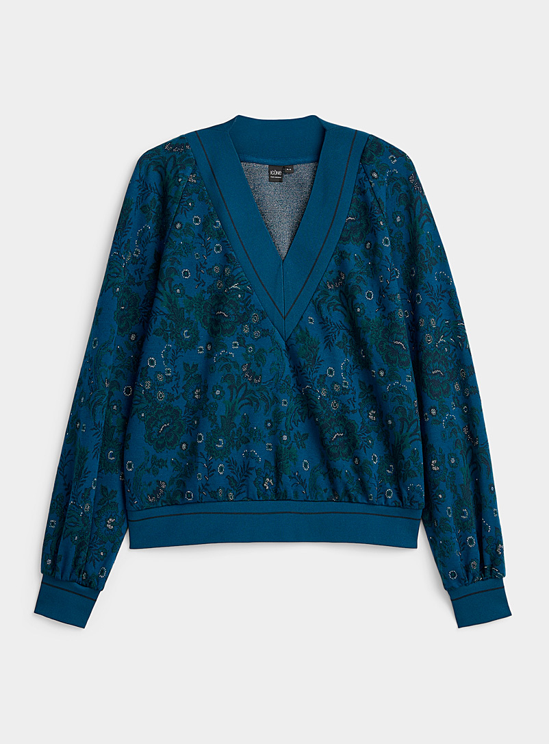 Enchanted forest jacquard sweatshirt - Long Sleeves - Marine Blue