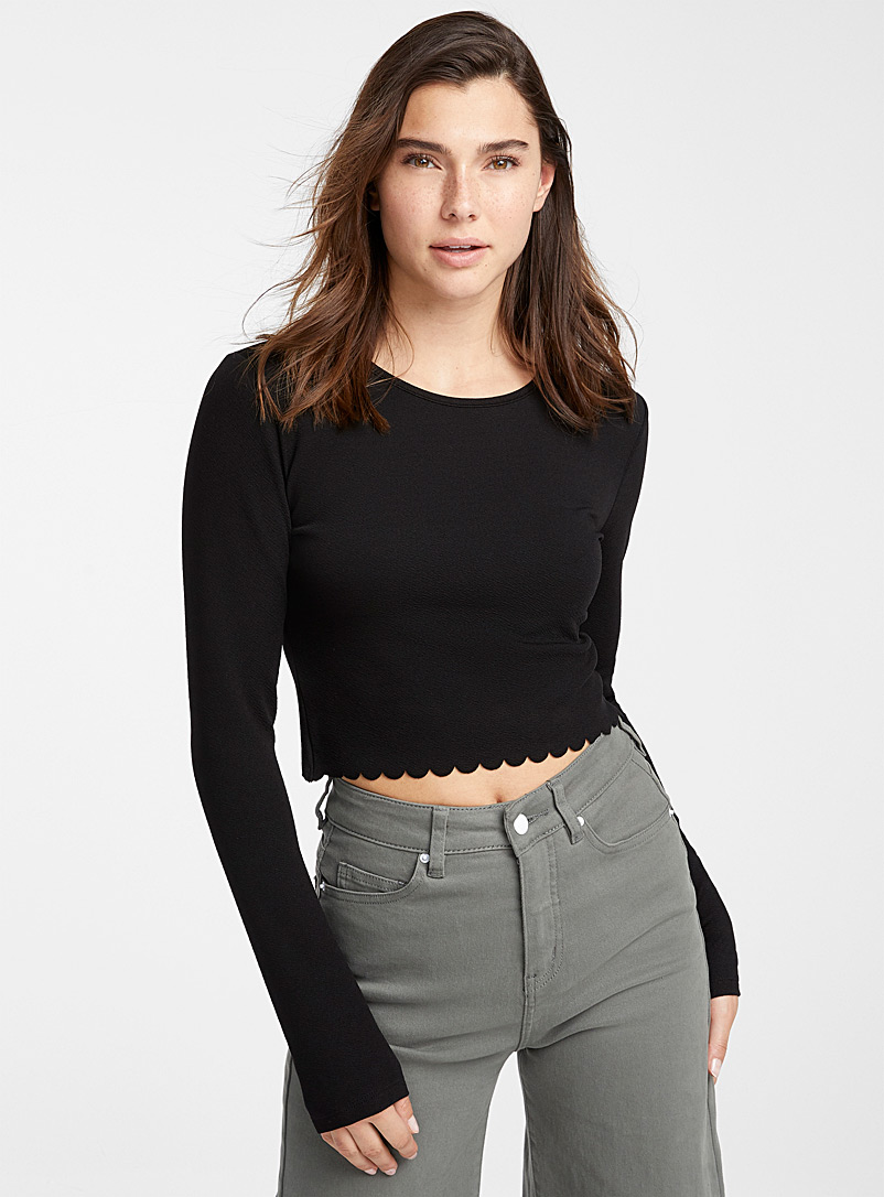 Twik Black Scalloped tee for women