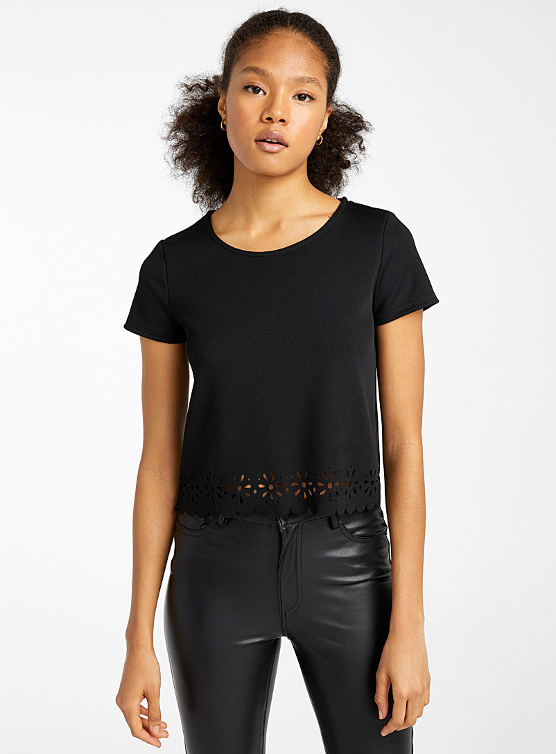Twik Black Laser cut crop top for women