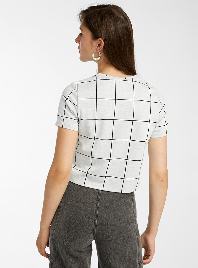 Twik Black and White Soft jacquard tee for women