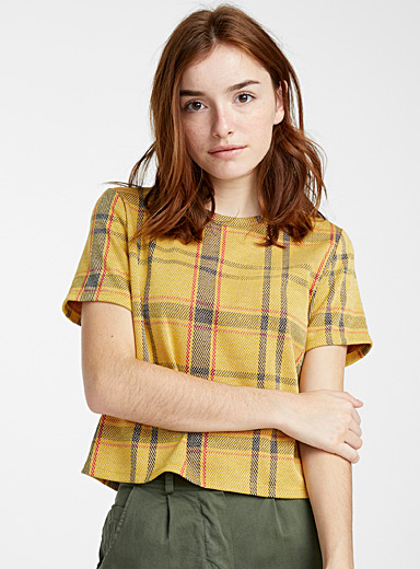 Twik Golden Yellow Soft jacquard tee for women