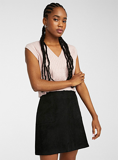 Patch pocket faux-suede skirt