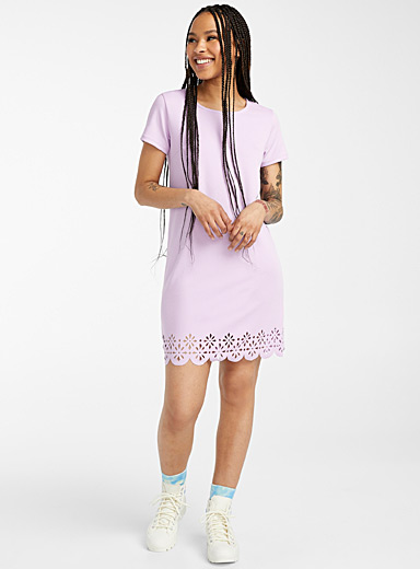 Twik Mauve Laser-cut pattern dress for women