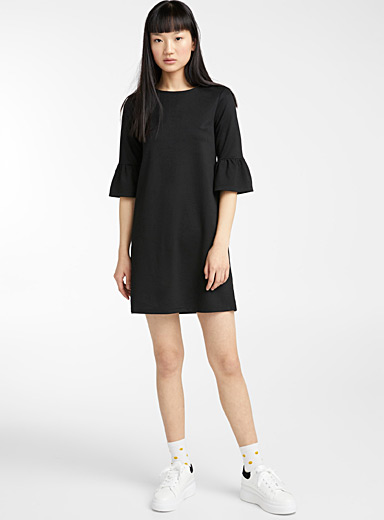 Twik Black Bell-sleeve shift dress for women