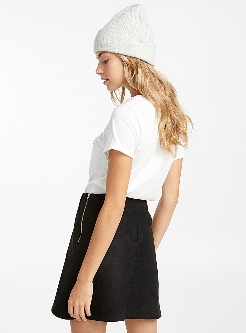 Faux-suede miniskirt - Short - Black