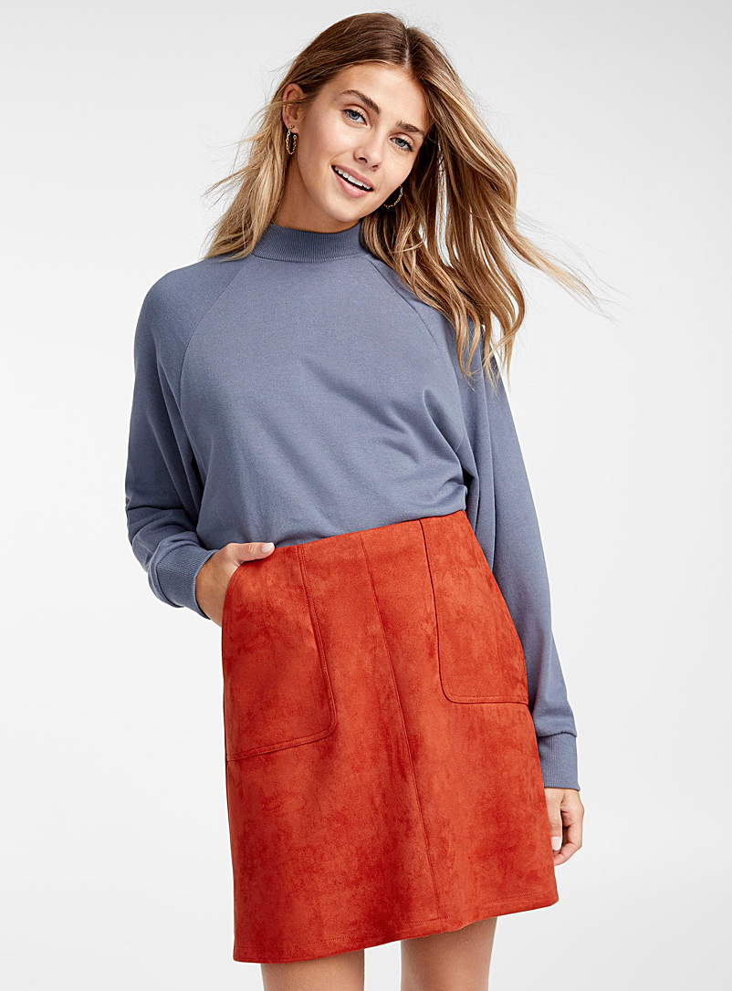 Faux-suede miniskirt - Short - Dark Orange