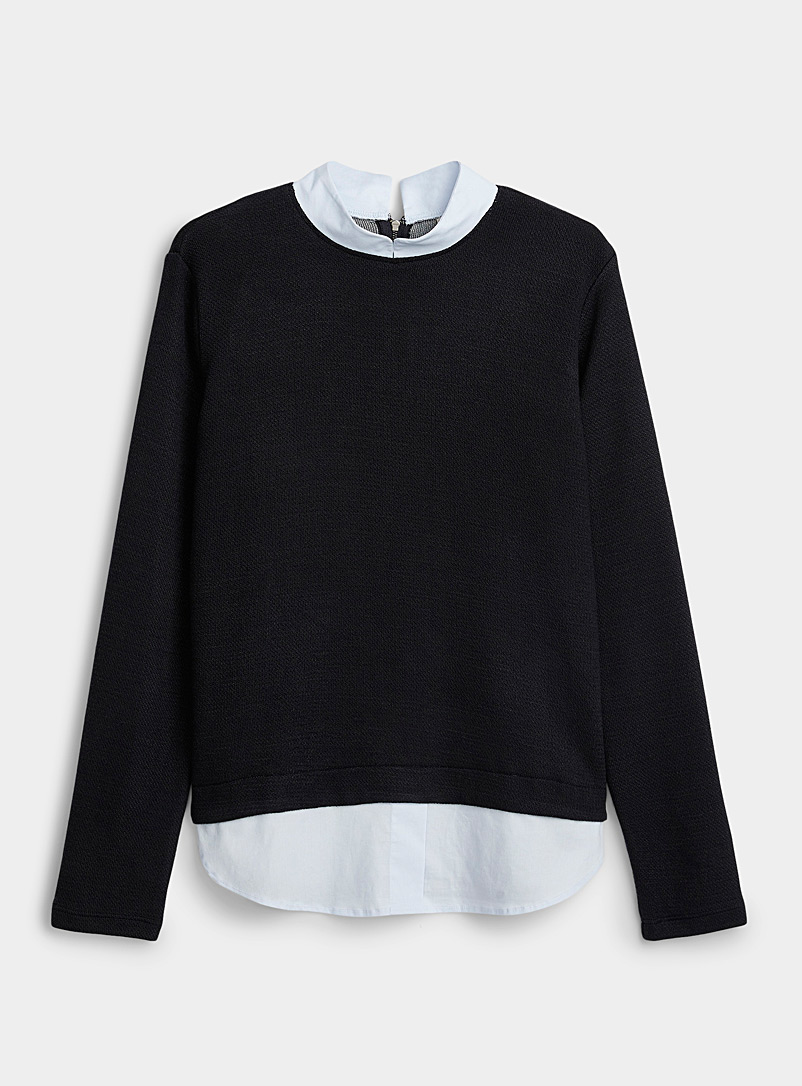 Mandarin-collar shirt sweater