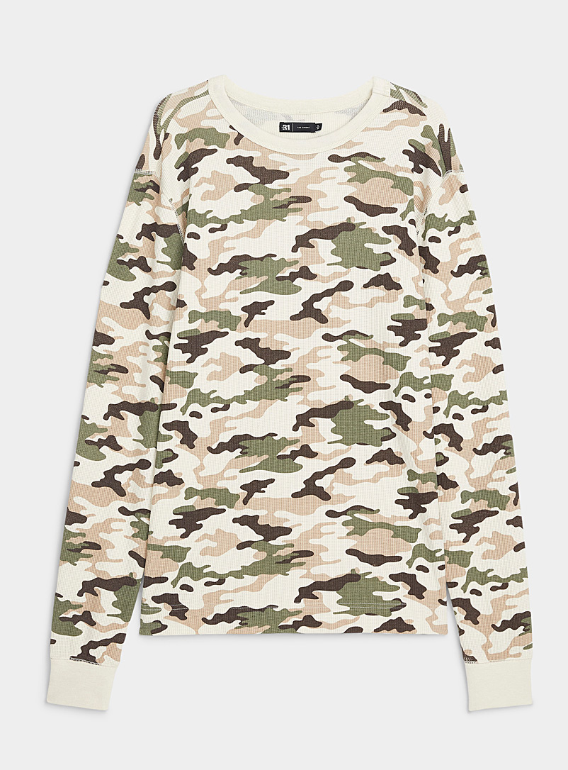 Le 31 Cream Beige Camouflage waffled T-shirt for men