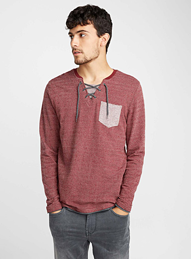 Laced-neck heather chevron T-shirt