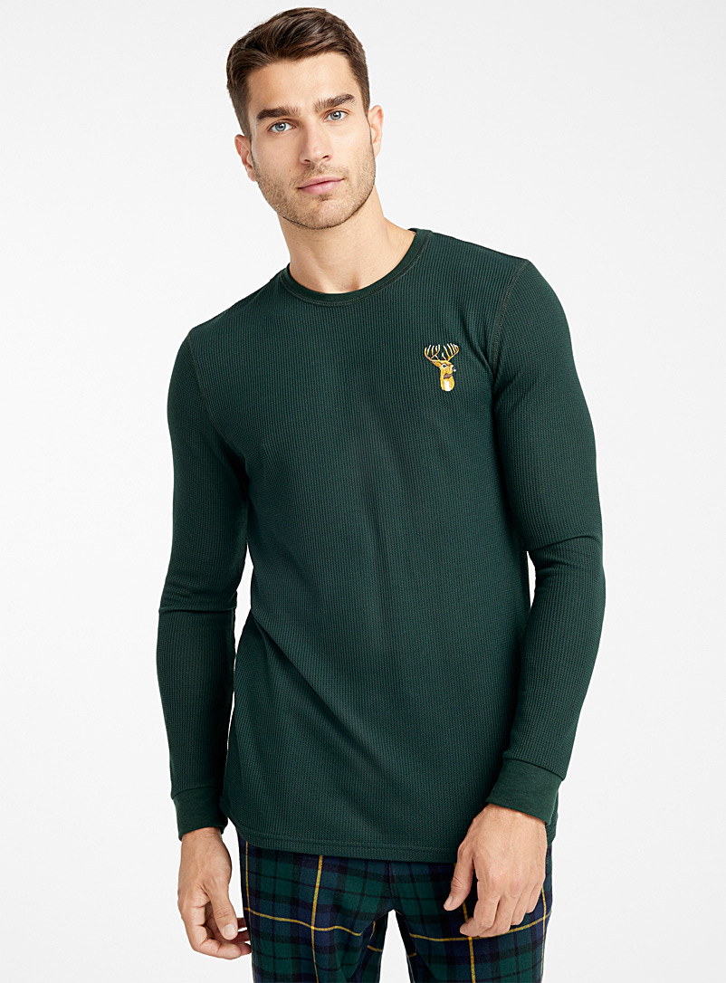 Embroidered waffled lounge T-shirt - Sleepwear & Leisurewear - Green