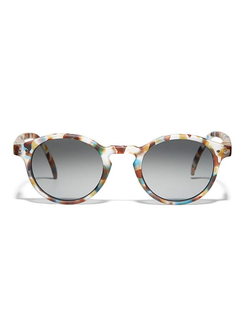 Matte round sunglasses - Designer - Patterned Blue