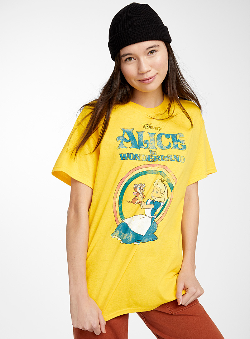 Alice in Wonderland T-shirt - Short Sleeves & ¾ Sleeves - Patterned Yellow