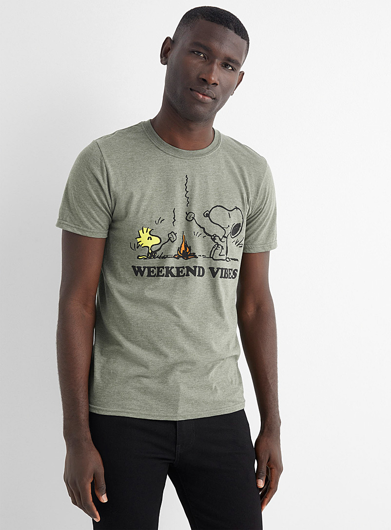 Le 31 Mossy Green Weekend Vibes T-shirt for men