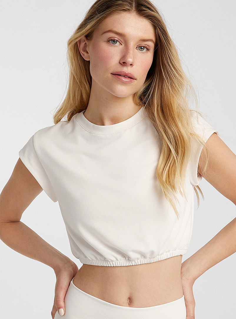 Alo yoga Ivory White Dreamy cap-sleeve cropped T-shirt for error