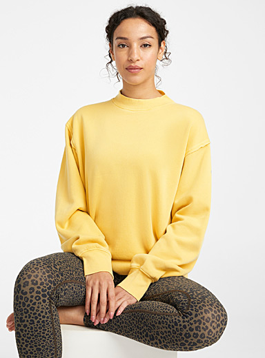 Loose faded ribbed-neck sweatshirt