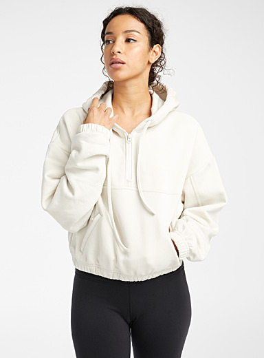 Cotton fleece half-zip cropped sweatshirt