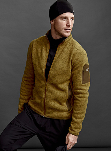 Covert polar fleece knit cardigan