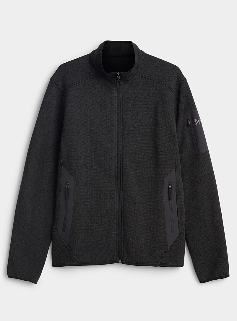 Arc'teryx Black Covert polar fleece knit cardigan for men