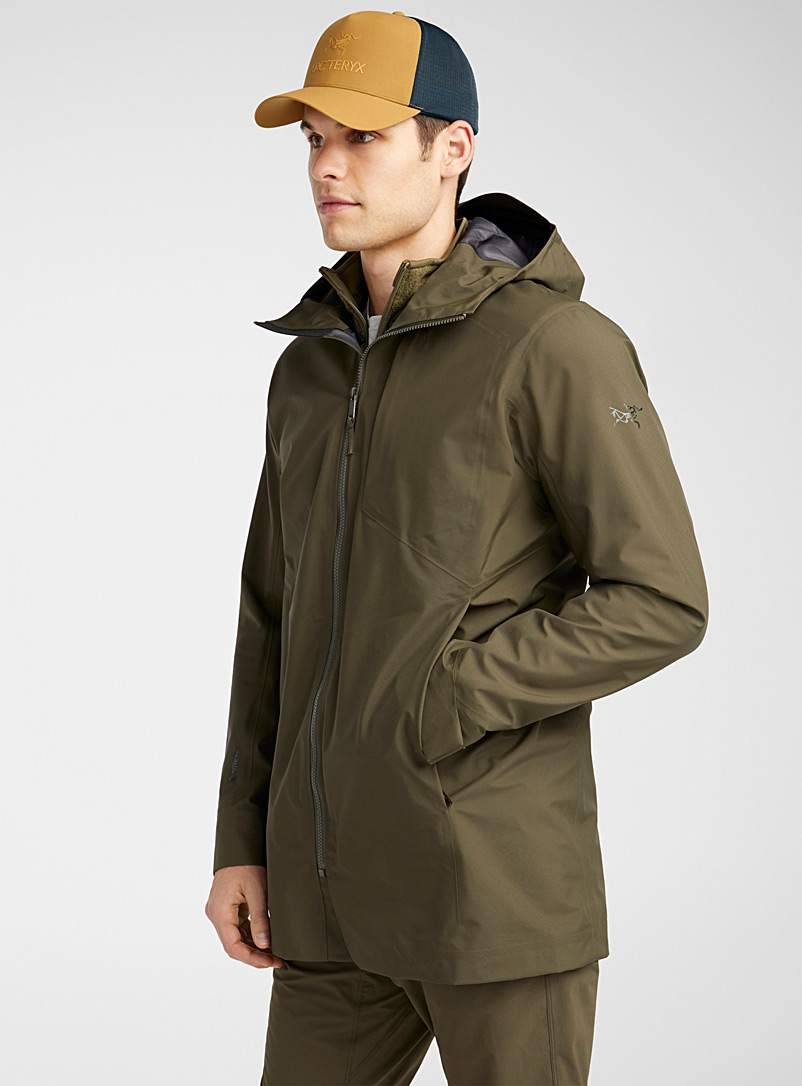 Arc'teryx Khaki Sawyer long shell coat  Regular fit for men