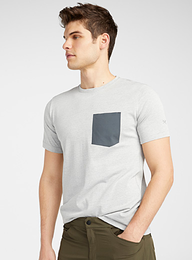 Arc'teryx Grey Woven pocket stretch T-shirt for men