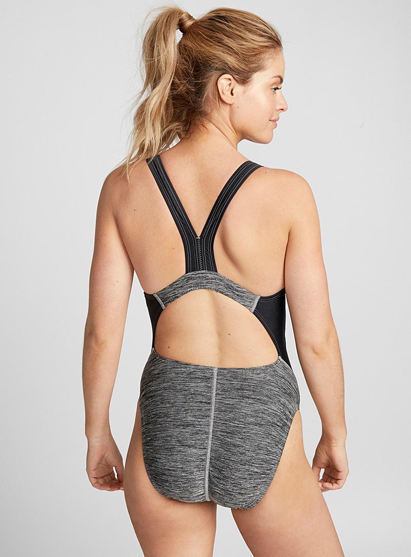 Quantum sporty stripe one-piece - Swimming - Patterned Grey