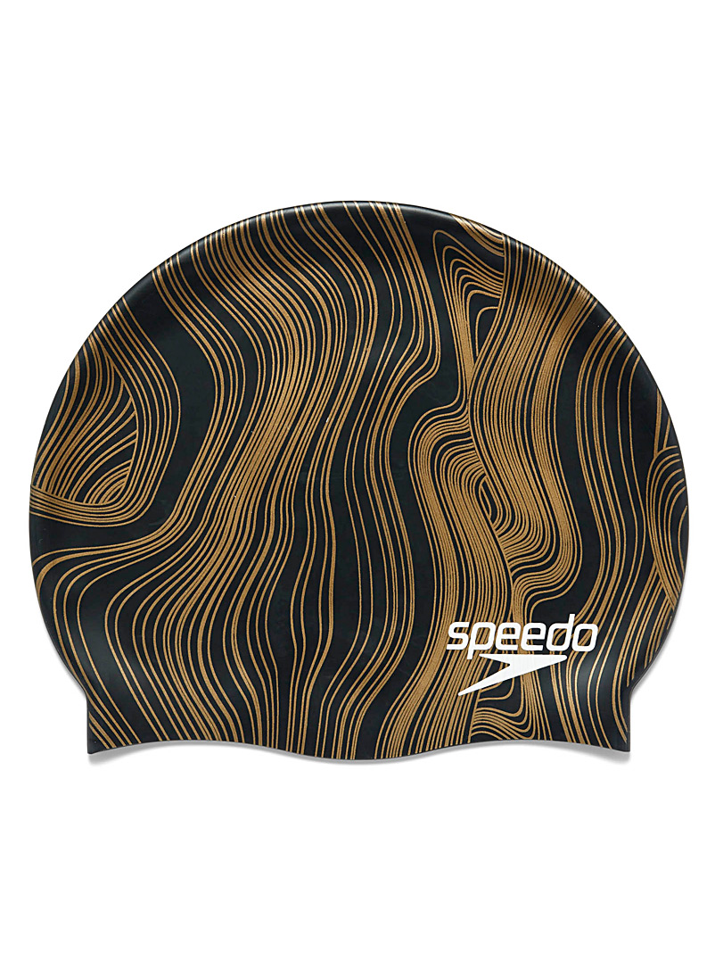 Speedo Patterned Black Gold ribbing swim cap for women