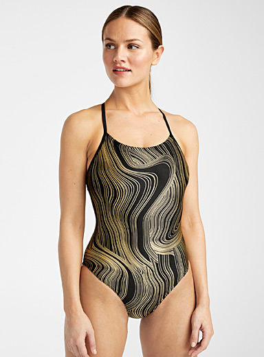 Speedo Patterned Black Gold ribbed one-piece for women