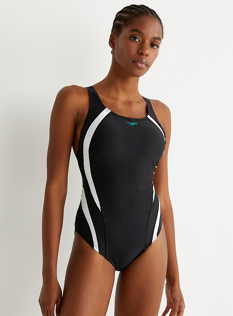 Speedo Patterned Black Quantum white accent one-piece for women