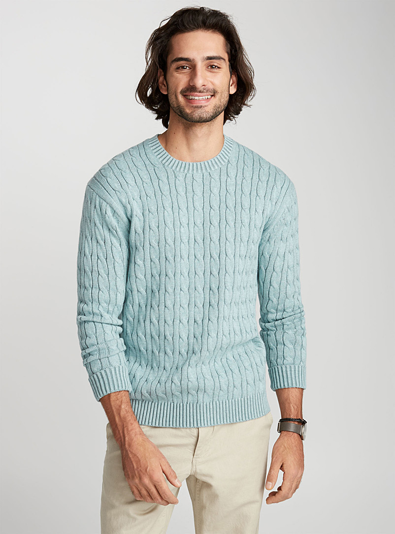 Nautical cable-knit organic cotton sweater - Cotton - Baby Blue