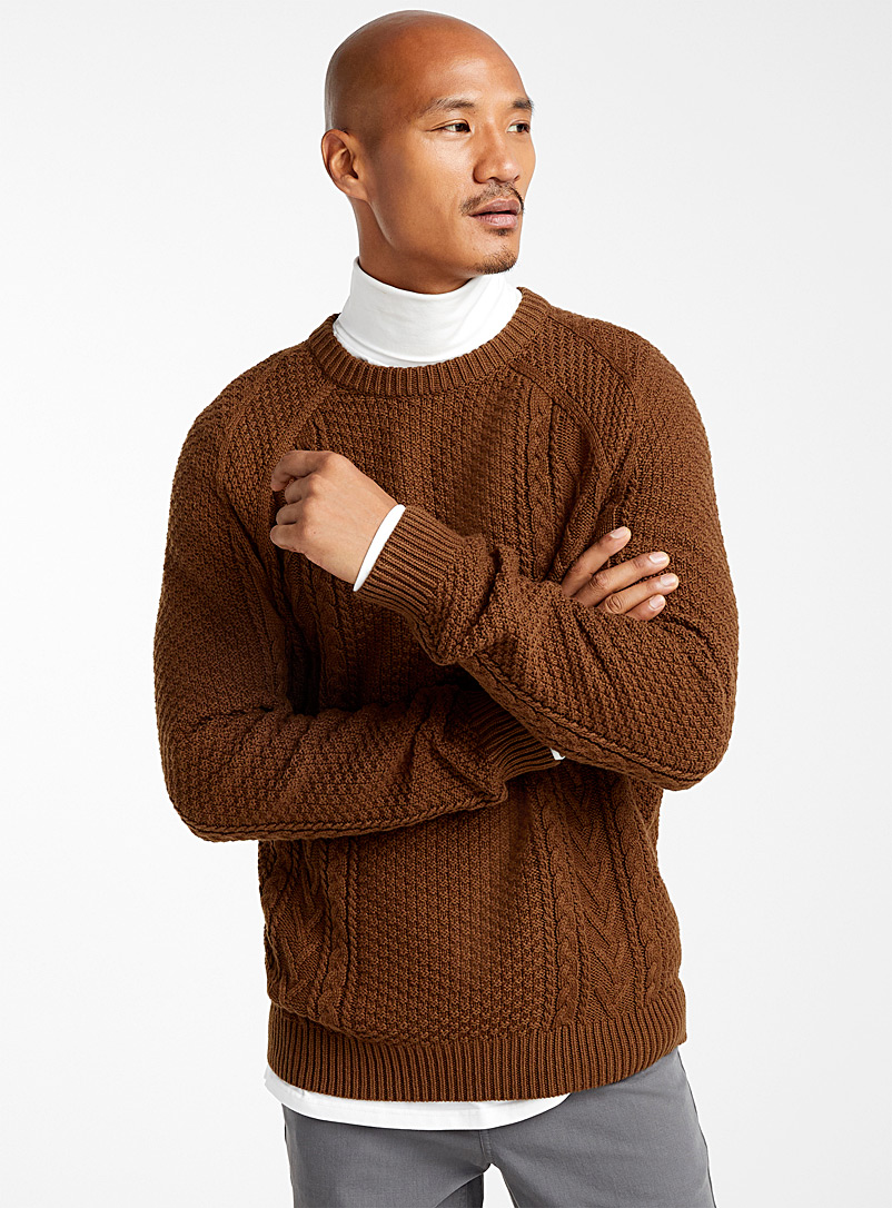 Mixed texture sweater - Crew necks - Dark Brown