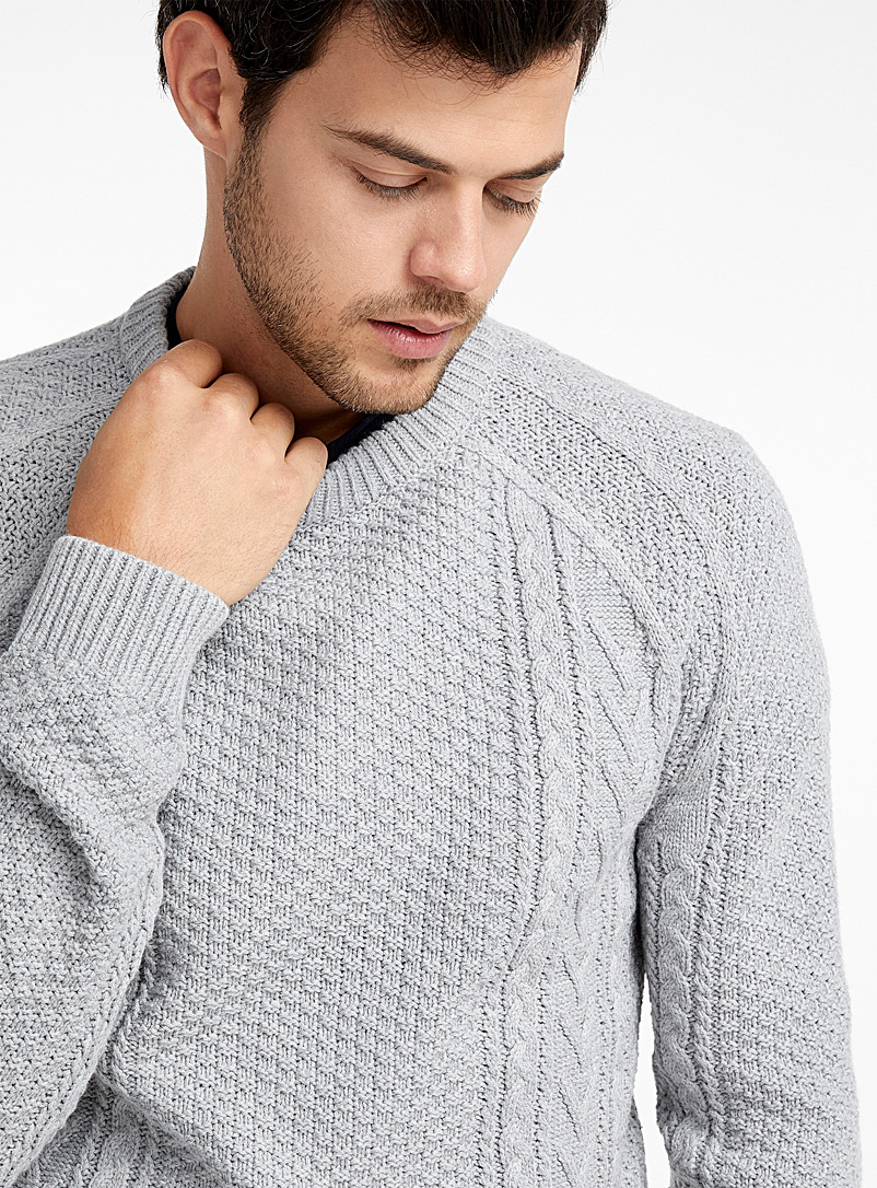 Mixed texture sweater - Crew necks - Grey