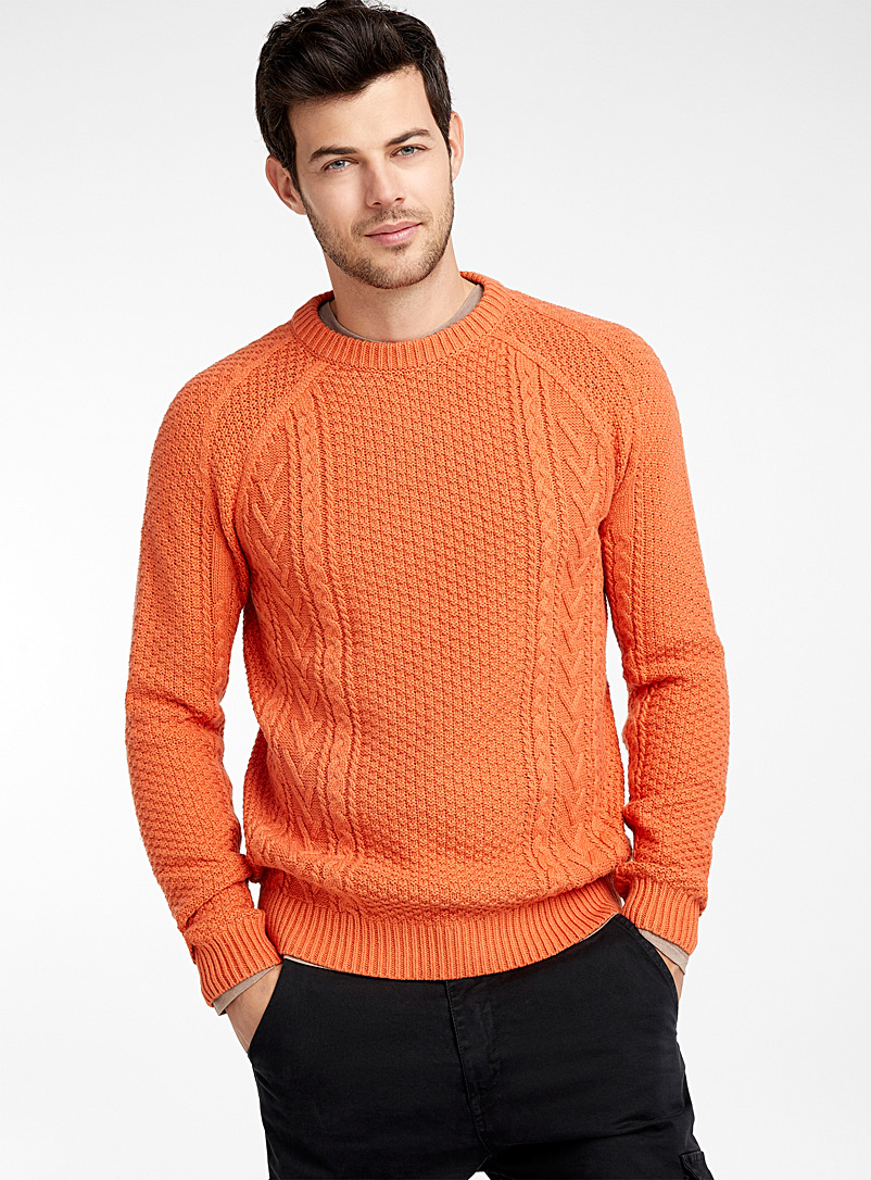 Mixed texture sweater - Crew necks - Coral