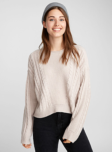 Cable knit rolled-neck sweater