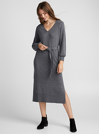 Merino and cashmere belted dress